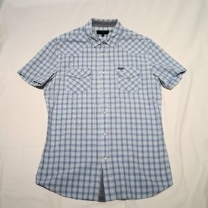 Diesel Plaid Slim Fit Snap Front Shirt, Medium